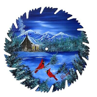 Hand Painted Saw Blade Art Mountain Winter Log Cabin and Cardinals