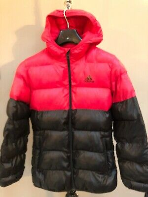 Girls Adidas Originals Black And Red Puffa Jacket Hooded Quilted Coat Age 11-12