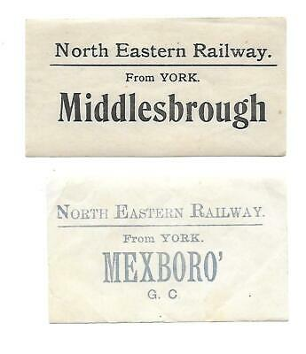 NER, North Eastern Railway Luggage Labels x2. Middlesbrough & Mexboro' Stations.