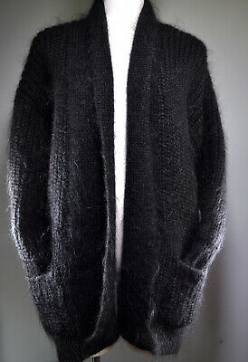 Vintage 1980s Oversized Baggy Fluffy Mohair Blend Coatigan Cardigan St Michael