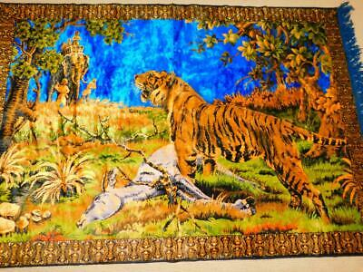 Vintage Large Velvet TIGER HUNT TAPESTRY RUG Wall Hanging Fringed ELEPHANT 70x49