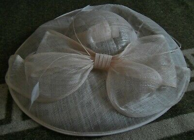 **Bow Quilled Saucer Light Peachy Gold Wedding Hat** Debut
