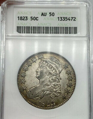 1823 ANACS AU50 50C Capped Bust Half Dollar Retro ANACS Holder