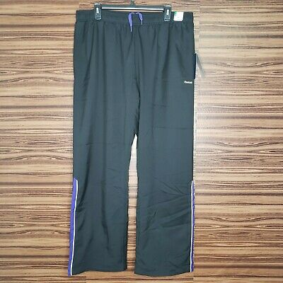 NWT Reebok Mens XL Woven Lined Training Pants Black Purple Relaxed Fit
