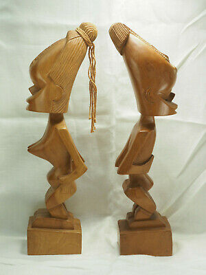 "2  Akamba Kenyan Statues Wooden female  and male  16"" tall hand carved African"