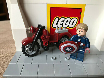 Lego Marvel Super Heroes Captain America Inc Shield And Motorbike Mini Figure
