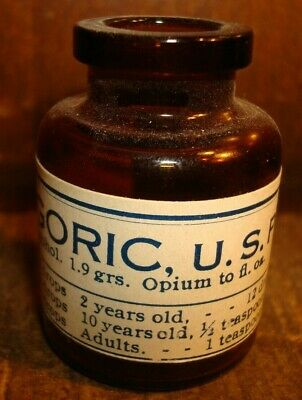 Antique Paragoric Opium Medicine Pharmaceutical Pain Killer Bottle