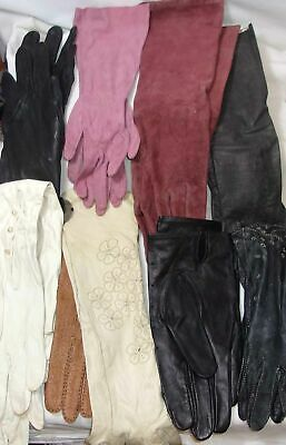Vintage Leather Glove Lot - Black, White, Colors All Sizes