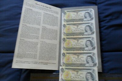 Notaphilics - Uncirculated Canadian Paper dollar bills (5) collection