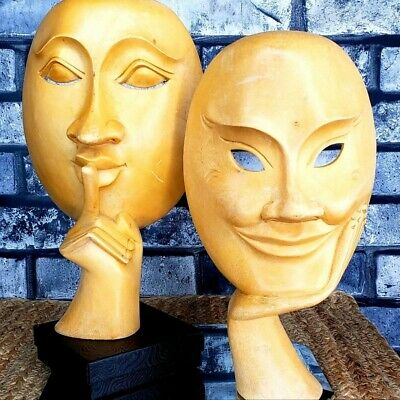 SHHH! & THE GRIN Gothic Sculptures Vintage Carved Faces Gothic Macabre ART