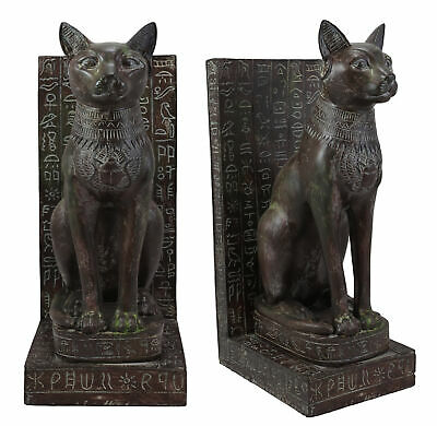 Egyptian Goddess Bastet Cat With Hieroglyphic Epitaph Bookends Statue Set Of 2