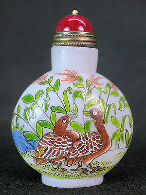 Chinese Duck Reed Hand Painted Peking Glass Snuff Bottle