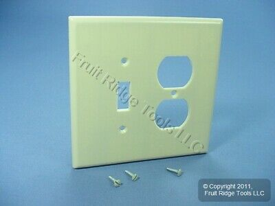 New Leviton OVERSIZE Ivory 2-Gang Switch Receptacle Wallplate Outlet JUMBO Cover