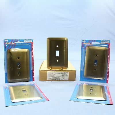 5 Leviton JUMBO Antique Brass Switch Cover Oversize Toggle Wall Plates 89301-ATB
