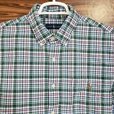 EUC Ralph Lauren Mens XL Front Button Long Sleeve Plaid Pocket Colored Pony