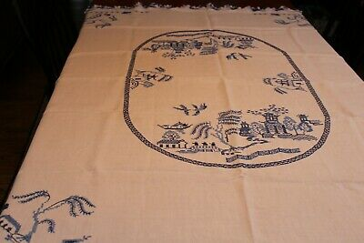 Vintage White Linen Tablecloth Hand Embroidered Oriental Motif 48x62 + Crochet
