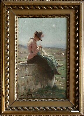Jacques Gay (1851-1925) Signed French Impressionist Oil - Young Girl Sewing