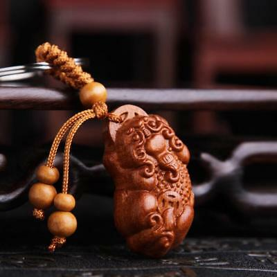 N    Wood China handcarved Carving coin pixiu beast statue Pendant Key Chain