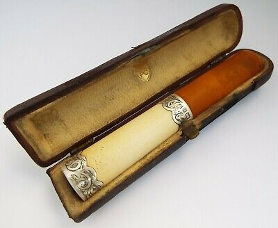 Beautiful Large English Antique 1901 Solid Silver & Meerschaum Cigarette Holder