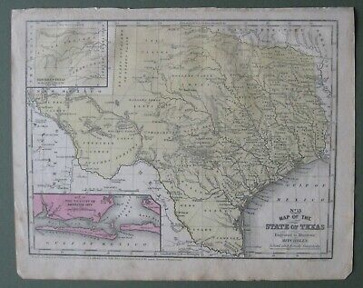 1852 Mitchell Map:Texas insert maps Galveston & N.Texas&Santa Fe Trail(Scarce)