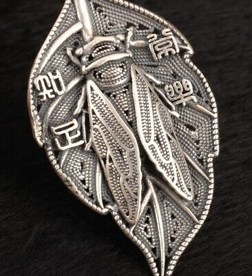 925 Silver Plated Silver Solid Silver Pendant Leaf Cicada Handmade Gift