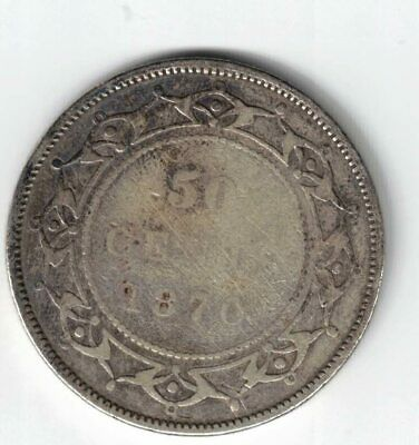 Newfoundland 1870 50 Cents Half Dollar Victoria Sterling Silver Canadian Coin