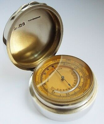 Superb V Rare English Antique 1901 Solid Sterling Silver Barometer & Thermometer