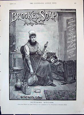 Old Print Brooke'S Monkey Brand Soap Lady Polishing Bed Pan Baby Cot 1890 19th