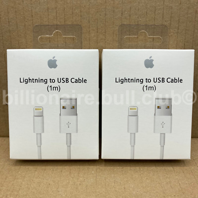 2 X Genuine Apple 1M Lightning USB Charger Cable Lead For iPhone XS Max 8 7 6 5S