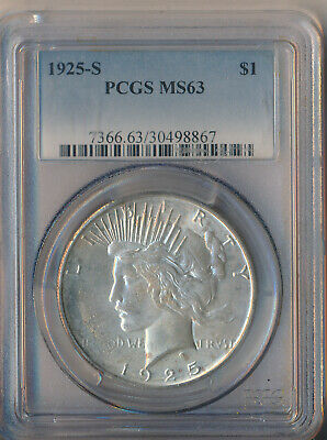 1925-S Peace Silver Dollar **Pcgs Certified Ms 63**