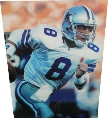 Troy Aikman Hand Signed Autographed 30x40 Large Canvas Dallas Cowboys W/ Proof