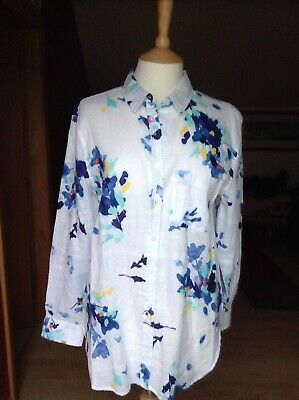 Joules Jeanne Linen Print Bright White Flower Patterned Shirt UK 12 BNWT RRP £70