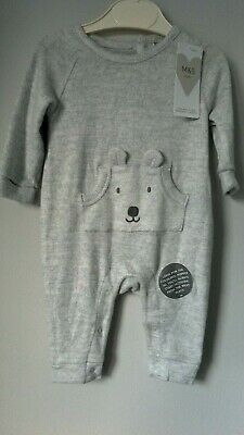 M & S, Marks & Spencer Baby Play Suit, Sleepsuit  0-3 Months 62cm Grey Marl BNWT