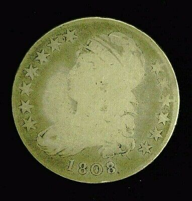 1808/7 CAPPED BUST SILVER HALF 50c 8 OVER 7    (8945)