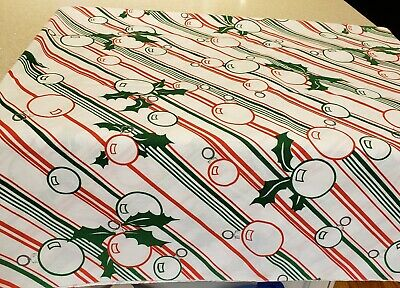 """Vintage CHRISTMAS TABLECLOTH 52""""x52"""" White w/Red-Green Candy Cane Stripe & Balls"""