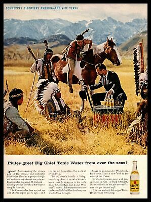1961 Schweppes Quinine Piute Indians Chief Tonic Water Edward Whitehead Print Ad