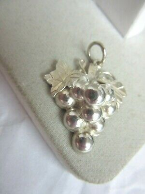 925 sterling silver bunch of grapes charm