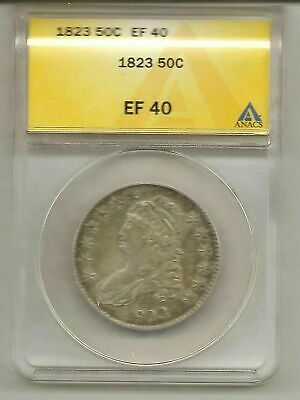 1823 ANACS Certified Extra Fine  EF 40 Capped Bust Half Dollar #ca0.50.9435
