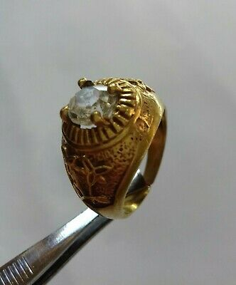 Ancient Rare Ring Roman Bronze WITH STONE Legionary Extremely Authentic Artifact