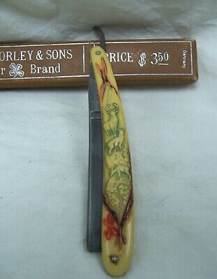 Antique W. H. Morley & Sons Carved Elk on Celluloid Straight Razor w/ Box