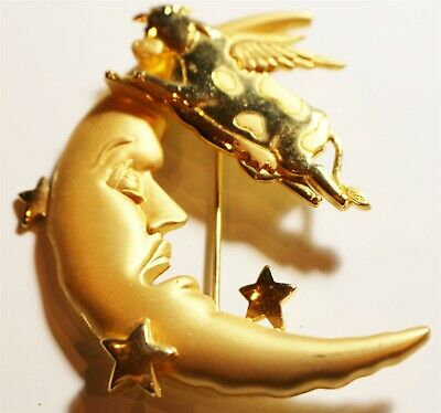 Vintage in Seattle Fantastic Brooch Pin #115 JJ signed cow jumped over the moon
