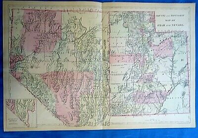 Vintage 1884 MAP ~ UTAH TERRITORY - NEVADA STATE Old Antique Original