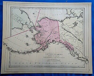 Vintage 1884 MAP NORTH WESTERN AMERICA - ALASKA TERRITORY Old Antique Original