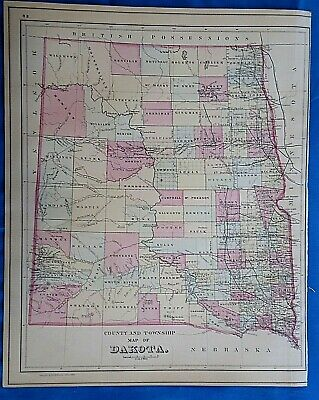 Vintage 1884 MAP ~ THE DAKOTA TERRITORY Old Antique Original - Quick N Free