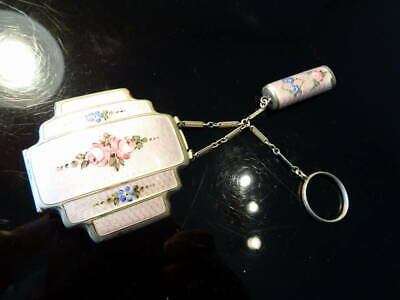 Antique Guilloche Enamel Compact & lipstick Tango Set Marked Sterling