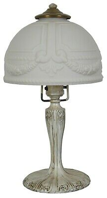 Antique French Art Deco White Glass Boudoir Parlor Vanity Desk Lamp Light