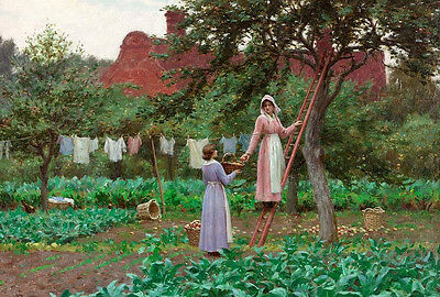 """Excellent Oil painting female portraits women picking up apples in landscape 36"""""""