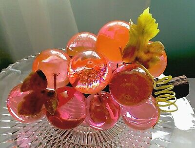 **Vintage Lg. Lucite Grape Cluster W/ Rare, Lg, Hot Pink Grapes on Driftwood**