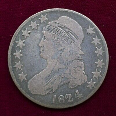 1824/1 Capped Bust Half Dollar - Good / OBV Scratch - 50c Silver