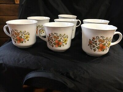 Set of 7 Corelle Corning 'Indian Summer' Orange Lilly Coffee-Tea Cups-Mugs EUC!